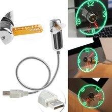 USB Led Gadget Flexible 40CM USB Powered Cooling LED Flashing Time Display Function Clock Fan # K400Y #