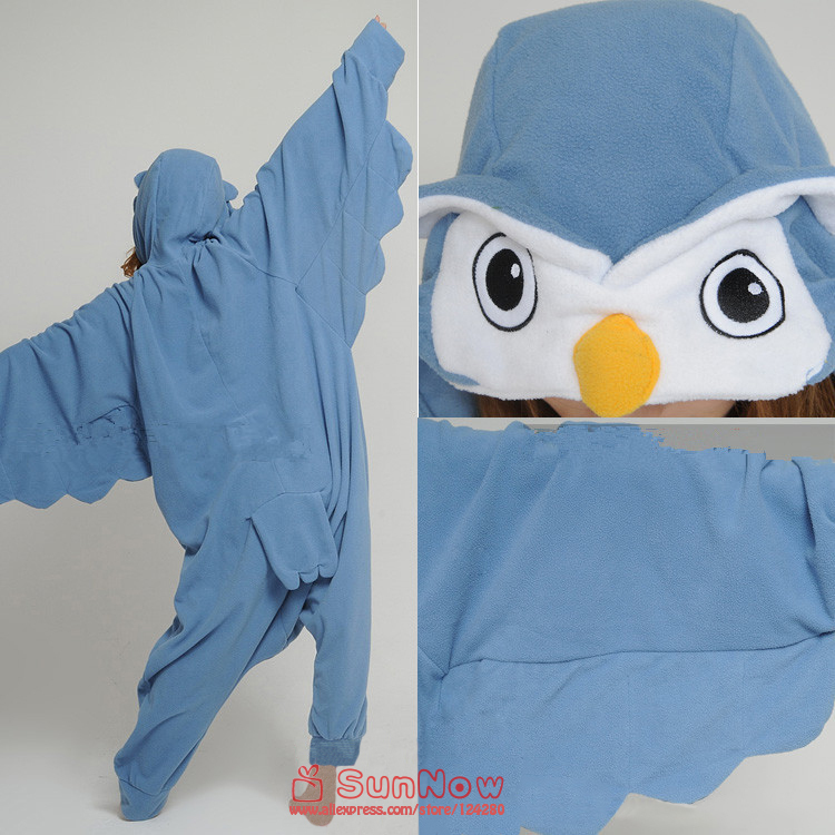 Unisex Adult Lovely Owl Onesies Pajamas Lady Cosplay Costumes in Party Halloween Winter Polar Fleece Pyjamas Sleepwear S/M/LXL
