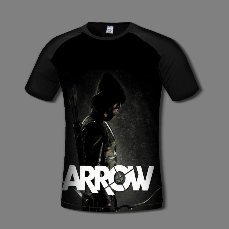 Green Arrow Man Oliver Queen Arrow Cosplay Costume Black T Shirts Men Style 2017 T shirt