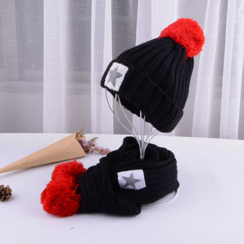 Girls Hat And Scarf Set Knitted Beanie Cap Winter Thick Warm Velvet Children Boy Hat Hedging Caps Soft Scarf Hats For Kids 2018
