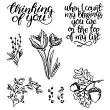 Plant Clear Stamps Thinking of You Rubber For DIY Scrapbooking Card Making Transparent