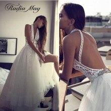 Vestido de novia bohemio con espalda abierta y cuello Halter sexi Encaje Vintage vestidos de novia de tul bohemio para la playa 2020 vestidos de boda de país Hippie