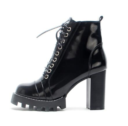 Sexy High Heel Winter Black Ankle Boots Round toe Designer Platform Ladies Lace-up Motorcucle Boots Patent Leather Ridding Boot