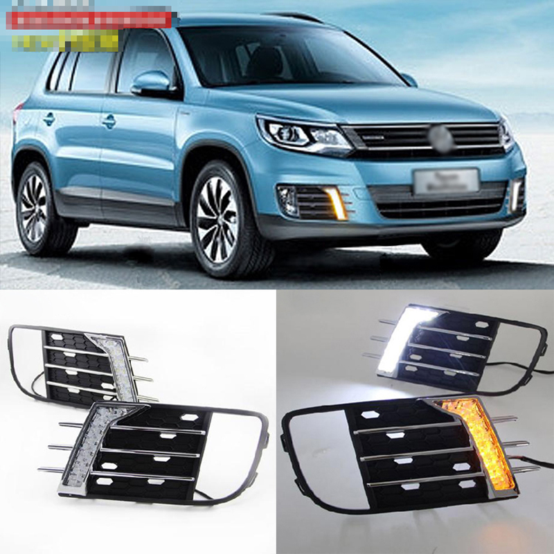 Ownsun New Updated LED Daytime Running Lights DRL With Yellow Turn Signal For VW Tiguan 2013 цена и фото