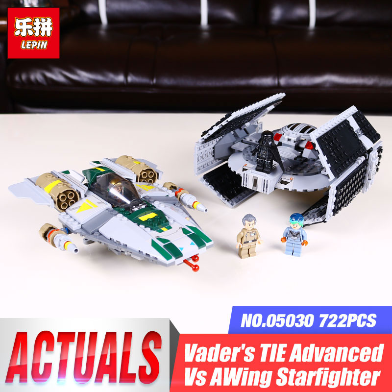 LEPIN 05030 Star Series War 722Pcs Vader Set Tie Advanced VS A toys wing Star fighter Building Blocks Toy 75150 Educational Toys dhl lepin 05055 star series military war the rogue one usc vader tie advanced fighter compatible 10175 building bricks block toy
