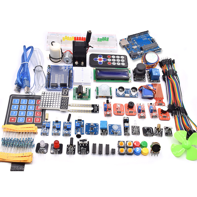 UNO R3 Project Complete Starter Kit Including SG90 , Joystick Module, Ultrasonic Sensor, DHT11,ect. For Arduino With Tutorial