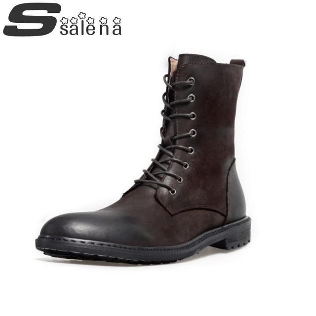 Nuevas Botas de Los Hombres Botas de Cuero Genuino de Calidad Superior Cómodo Moda Retro Plana Con Los Zapatos Oxford Venta Caliente Tamaño 38-43 # D008