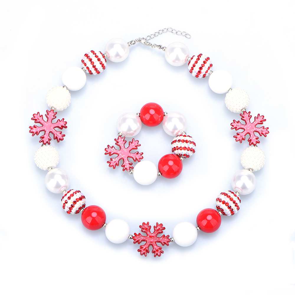 Christmas Inspired Snowflake Pendant Toddler Chunky Bead Necklace Girls Bubblegum Necklace and Bracelet Set DIY Gift for Kids du weike с популярными брендами стопорное возглавил диаболо diabolo новичку диаболо монополия диаболо diabolo тренажерами ом