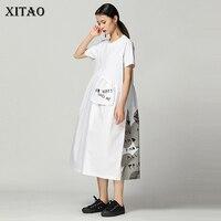 XITAO Splice Pocket Print Letter Dress Summer Women Vintage Back Patchwork Tide Irregular Pattern Midi Dress Black Hot WBB3432