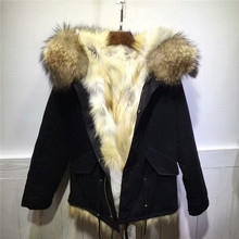 Comfortable raccoon fur collar coats women winter thick warm fox fur inside jacket
