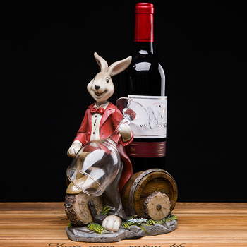 European cute retro cartoon rabbit resin wine holder pastoral home wine holder decoration