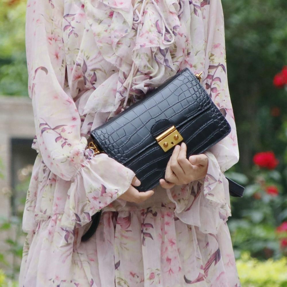 Genuine Leather Women Bag Clutch Fashion Crocodile Pattern Ms. Shoulder Bag Messenger Bag Retro Crossbody Bag Small Flap~18B12 все цены