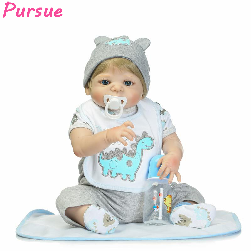 Pursue 22/57 cm Full Body Silicone Reborn Baby Doll Bathable With Boy Blond Hair Blue Eyes Cute Toys Best Birthday Gift For Boy miller titan by honeywell ac qc xsbl aircore full body harness x small blue