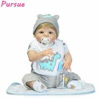 Pursue 22/57 cm Full Body Silicone Reborn Baby Doll Bathable With Boy Blond Hair Blue Eyes Cute Toys Best Birthday Gift For Boy