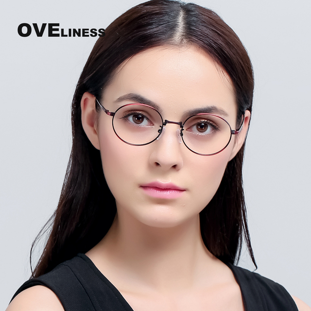 Metal Eyeglasses Frames Women Classic Optical Eyeglass Round Frame ...