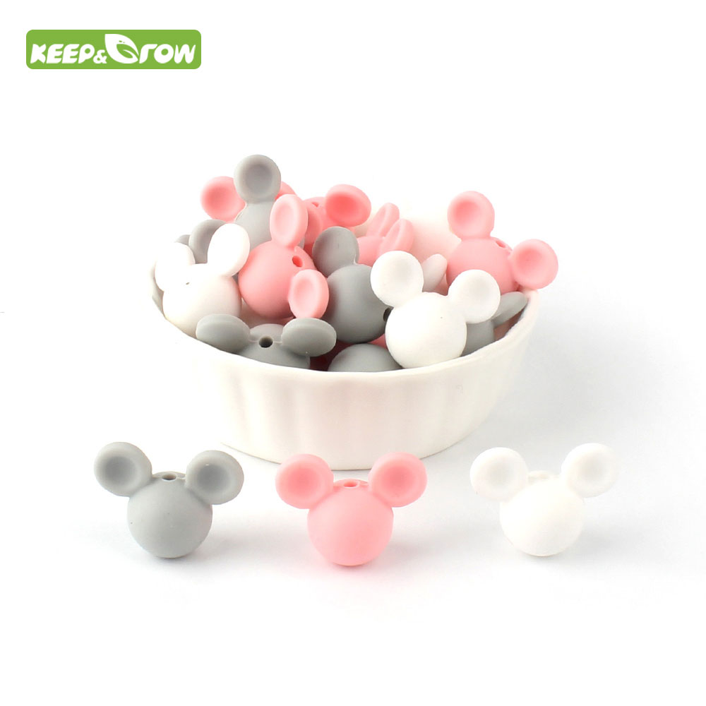 KEEP&GROW 10Pcs/lot  Mouse Silicone Beads Food Grade Baby Teether Mickey Silicone Teething Beads Pacifier Clips Toys Accessories