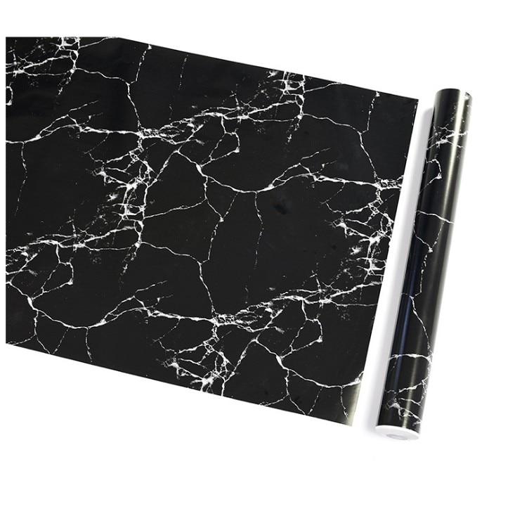 Waterproof Pvc Imitation Black Marble Pattern Sticker Self-adhesive Wallpaper Furniture Renovation Stickers Home Decor Film