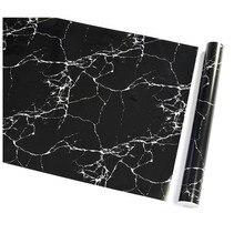 Impermeable Pvc imitación mármol negro patrón autoadhesivo papel pintado autoadhesivos de renovación de muebles película de decoración del hogar
