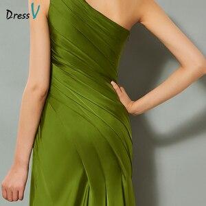 Image 5 - Dressv Green Elegante Avondjurk Schede Hof Trein Een Schouder Split Front Wedding Party Formele Jurk Kolom Avondjurken