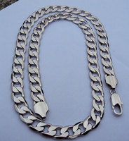 POP Deluxe Men's 23.6 12mm stamep 24k white solid gold filled curb link chain necklace FREE SHIPPING random gift