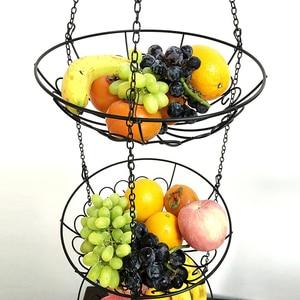 Image 5 - Vegetable Storage Hanging Fruit Basket 3 Tier Kitchen Multi Use Holder Home Iron Art Organizer Modern Style Rack With Chain
