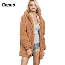 2018 Women Faux Fur Long Coat Winter Fluffy Warm Hoodie Teddy Coats Overcoat Female Fake Jackets Outwear Genuo