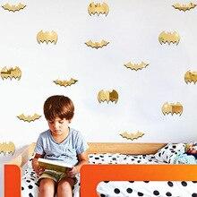 96pcs Halloween Bats Patterns Mirror Wall Stickers Kids Room Living Room Bedroom TV Sofa Background Decorative Wall Stickers