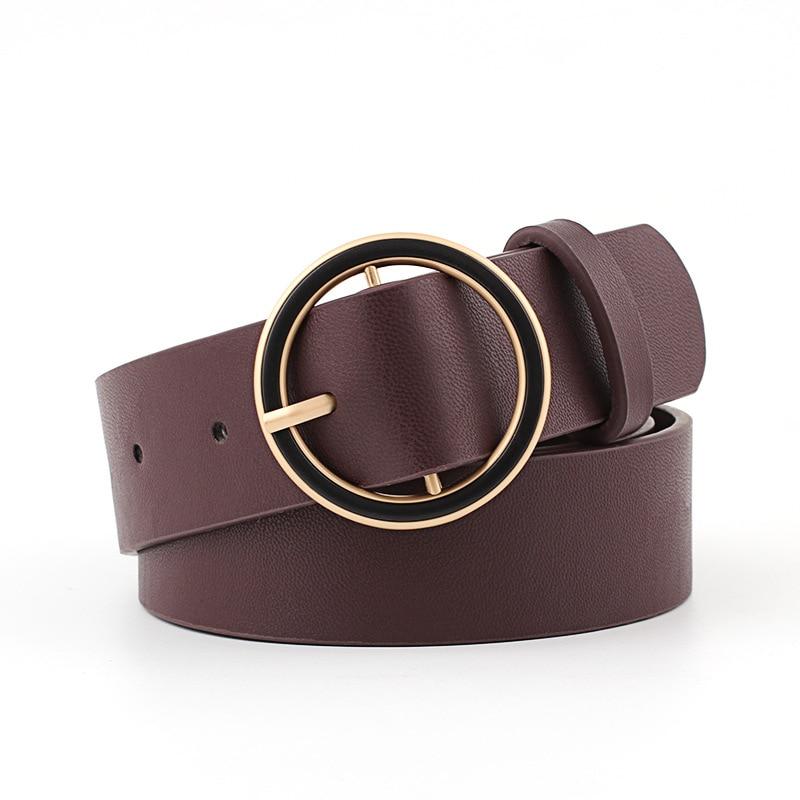 Badinka 2018 New Designer Gold Metal Round Circle Buckle Belt Womens Korean Wide Leather Waist Belts for Women Jeans Dress Cinto