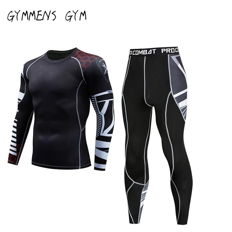 MMA Rashguard Fitness Running Shirt Men Rashguard Sportswear Male Long Sleeve Gym T-Shirt Suits Bodybuilding Men Shorts