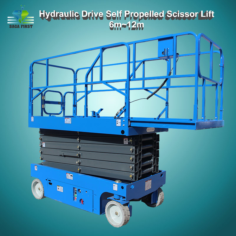 6m To 12m Hydraulic Driven Self Moving Scissor Lift With Ce