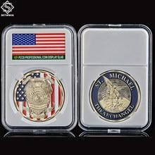 Medalla de los caballeros del arcángel, Challenge para EE. UU., moneda de recuerdo del santo patrón caído con pantalla de monedas pcsb