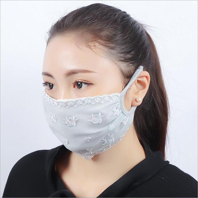 Summer Spring Lace Breathable face mask sun protective Shade anti-dust mouth mask cotton Mouth-muffle Mask Flu Face masks