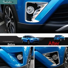 Tonlinker 2 pcs ABS Chrome Car styling Mirror style Front fog light Sticker Case Cover Stickers For TOYOTA RAV4 2016 Accessories
