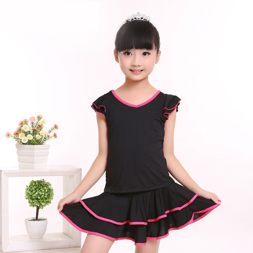Free Shipping  Children Latin Dance Shirt Suits Practice  Dress Girls Kids Double v-neck Performance Gymnastics Dress