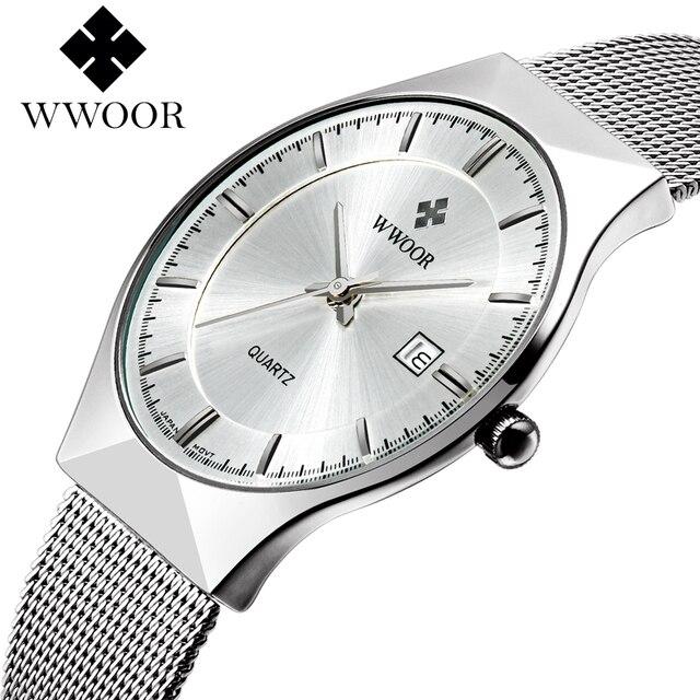 WWOOR Новый Топ Швейцарские Часы Мужчины Марка мужские Часы Ультра Тонкий Сетка Из Нержавеющей Стали Группа Кварцевые Наручные Часы Моды случайные часы