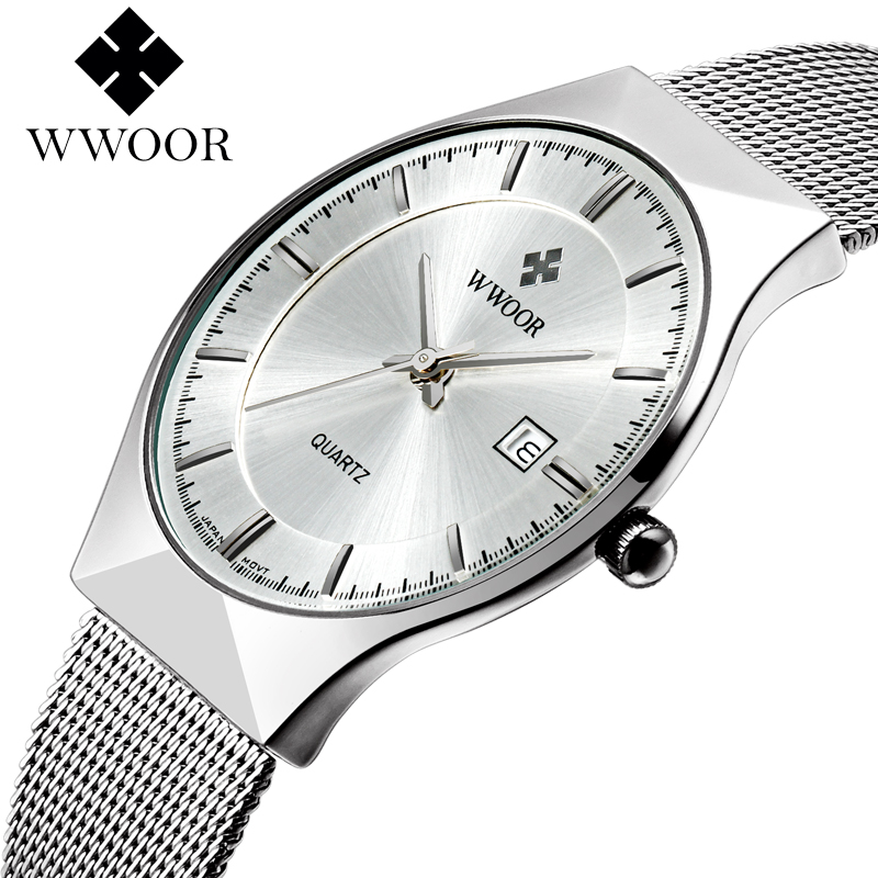 WWOOR New Top Luxury Watch Män Brand Män Herr Klockor Ultra Thin Rostfritt Stål Mesh Band Quartz Armbandsur Fashion Casual Klockor
