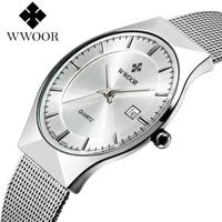 WWOOR New Top Luxury Watch Men Brand Men S Watches Ultra Thin Stainless Steel Mesh Band