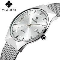 Wwoor новый топ роскошные часы Для мужчин бренд Для мужчин часы ультра тонкий Нержавеющаясталь сетка группа кварцевые наручные часы моды слу