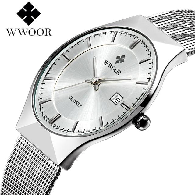 Wwoor новый топ роскошные часы Для мужчин бренд Мужские часы ультра тонкий Нержавеющаясталь сетки Группа Кварцевые наручные часы Мода Повседневная Часы