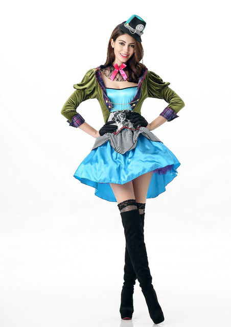 b5952280925 2017 Adult Alice In Wonderland Costume Womens Mad Hatter Fancy Dress  Costume Outfit Halloween Costume Alice