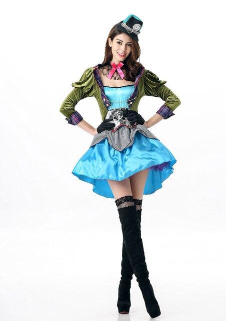 mad hatter frauen kostum cosplay outfit halloween kostum alice im wunderland tea party kleidung