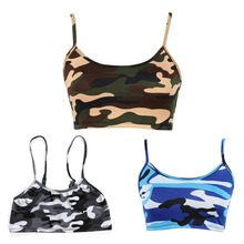 Womens Crop Top Sexy Camouflage Printed Halter Sleeveless Bra