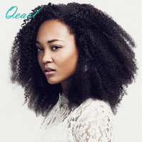 Qearl Hair 130% Density Afro Kinky Curly Lace Front Human Hair Wig With Baby Hair Mongolian Virgin Hair Short Curly Lace Wig