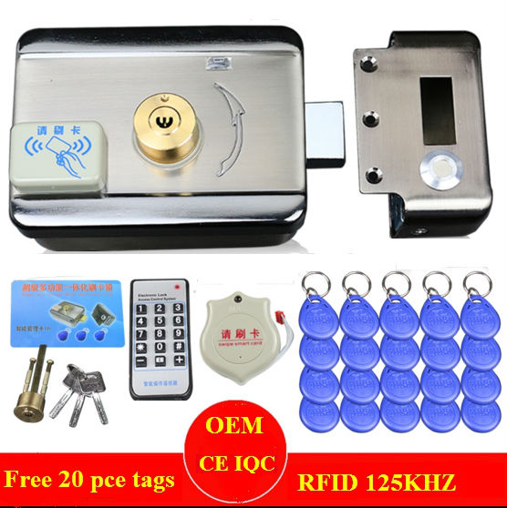 single double access Door gate Access Control system Electronic integrated RFID motorized lock with RFID reader