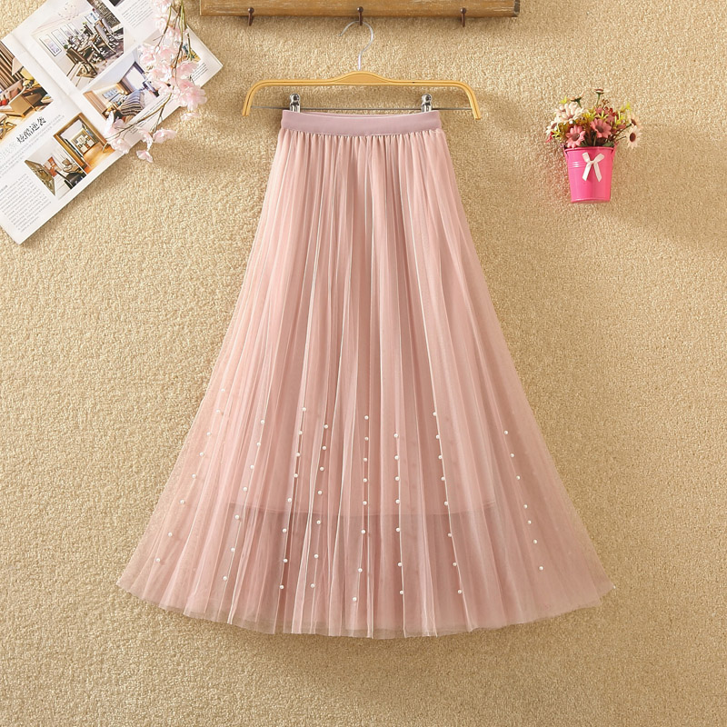 HTB1yhV7PgHqK1RjSZFkq6x.WFXas - New Spring Summer Skirts Womens Beading Mesh Tulle Skirt Women Elastic High Waist A Line Mid Calf Midi Long Pleated Skirt