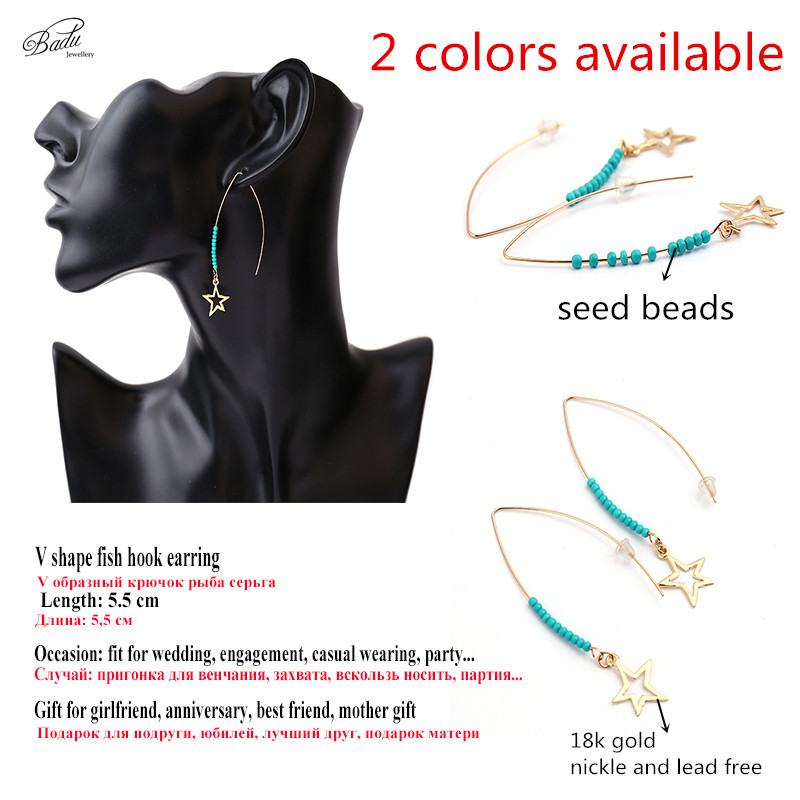 Badu Silver V Shape Earring Bohemian Long Wedding Jewelry Mother Gift Summer Fashion aretes de mujer largos 2017 in Drop Earrings from Jewelry Accessories