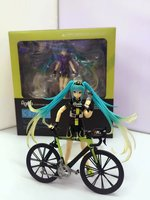 HKXZM Anime 15CM Hatsune Miku Ride Bicycle #307 RACING MIKU 2015 Support ver. PVC Action Figure Collectible Toy Model Gift