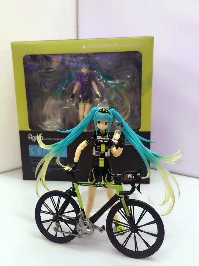 HKXZM Anime 15CM Hatsune Miku Ride Bicycle #307 RACING MIKU 2015 Support ver. PVC Action Figure Collectible Toy Model Gift image