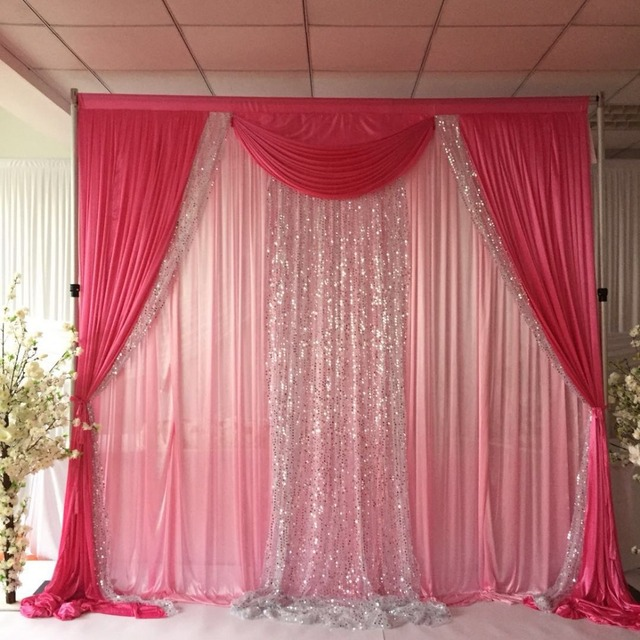 Light Pink Curtain Dark Drape And Swag Silver Sequin 3mhx3m Wedding Backdrop