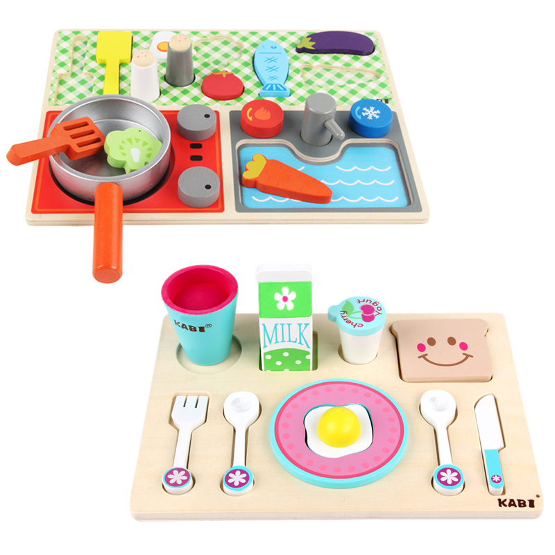 Baby Toys Simulation Breakfast Kitchen Set Wooden Toys Milk Food Pretend Play Gas Cooking Food Toys Educational Birthday Gift